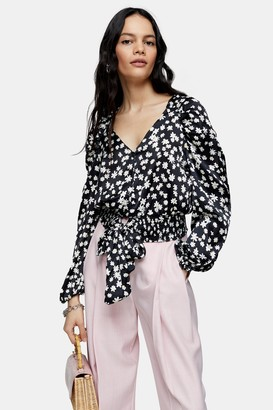 Topshop Black and White Daisy Print Satin Tie Front Shirt