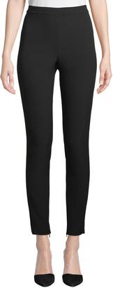 St. John Bella Double-Weave Cropped Leggings w/ Ankle Zippers