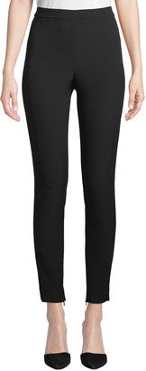 St. John Bella Double-Weave Cropped Leggings w/ Ankle Zippers