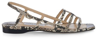 Jimmy Choo Arien Flat Snakeskin-Embossed Leather Sandals