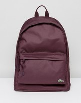 Lacoste Logo Canvas Backpack In Burgundy