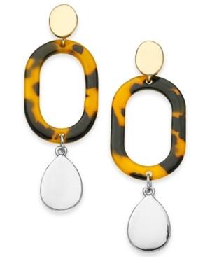 Alfani Two-Tone Tortoise-Look Oval Link Linear Drop Earrings, Created for Macy's