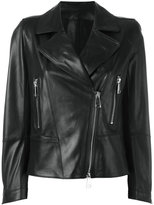 Sylvie Schimmel biker jacket with silver tone zippers