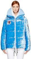 Off-White Blue Velvet Baggy Puffer Jacket