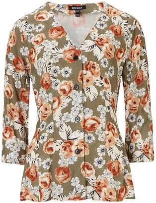 Baukjen Rosemary Blouse In Khaki & Rose Bloom