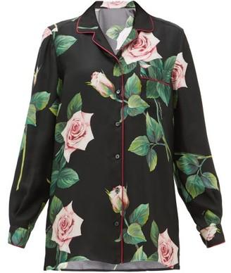 Dolce & Gabbana Rose-print Silk-satin Shirt - Black Print