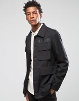Asos Slim Safari Jacket In Black Tencel
