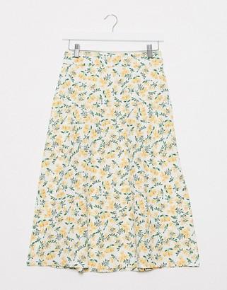 JDY midi skirt in ditsy floral print
