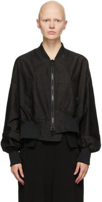Regulation Yohji Yamamoto Black Asymmetric Bomber Jacket