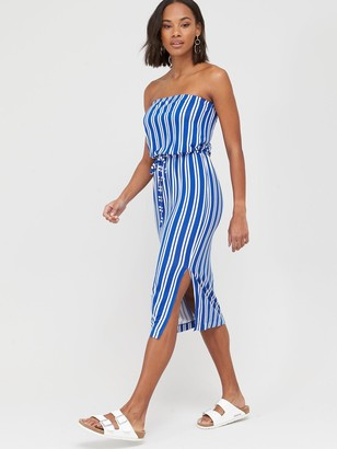 Very Bardot Channel Waist Jersey Midi Dress - Stripe