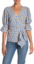 Flying Tomato A.Calin Patterned 3/4 Sleeve Wrap Top