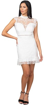Bebe Ruffle Mock Neck Lace Dress (White) Women's Dress