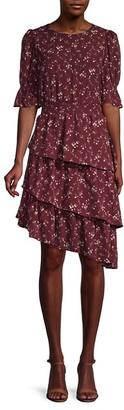 Lea & Viola Asymmetric Tiered Blouson Dress