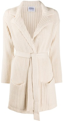 Gianfranco Ferré Pre Owned 1990s Ribbed Knitted Belted Jacket