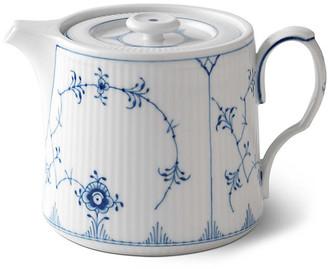 Royal Copenhagen Fluted Teapot - White/Blue