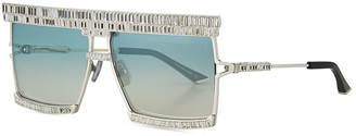Karlsson Anna Karin The Emperor Square Titanium Sunglasses w/ Baguette Crystal Trim