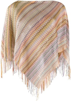 Missoni Stripe-Knit Fringed Poncho