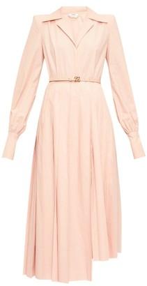 Fendi Gloria Belted Cotton-poplin Shirt Dress - Womens - Pink