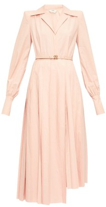 Fendi Gloria Belted Cotton-poplin Shirtdress - Womens - Pink