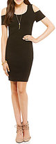 Jessica Simpson Mara Cold-Shoulder Knit Jacquard Sheath Dress