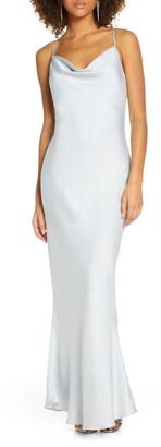 Shona Joy Cowl Neck Satin Gown