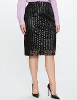 ELOQUII Plus Size Faux Leather Dot Pencil Skirt