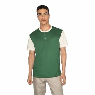 American Apparel Men's 50/50 Short Sleeve Colorblock Henley