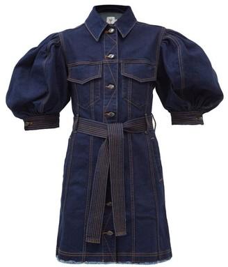 Aje Tori Puff-sleeve Denim Mini Dress - Denim