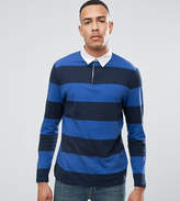 Asos Tall Relaxed Stripe Long Sleeve Rugby Polo In Heavyweight Jersey