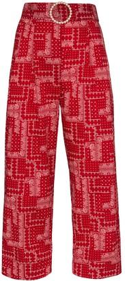 Shrimps Houston cropped patchwork-print cotton trousers