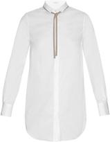 Brunello Cucinelli Neck-tie cotton-blend poplin shirt