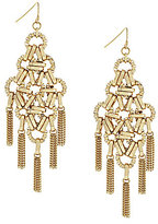 Jessica Simpson Tasseled Interlocking Ring Chandelier Statement Earrings