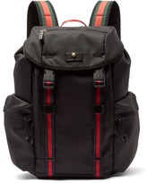 Gucci Techno Web-stripe Canvas Backpack - Mens - Black