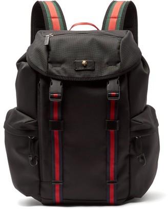 Gucci Techno Web-stripe Canvas Backpack - Mens - Black