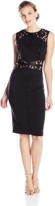 XOXO Women's Sleeveless Lace Contrast Sheath Dress
