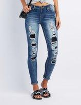 Charlotte Russe Destroyed Patchwork Skinny Jeans