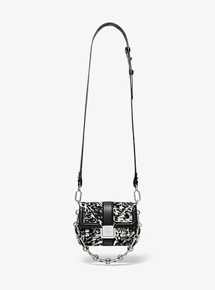 Michael Kors Crawford Mini Pony Print Calf Hair Crossbody Bag - Ivory/black