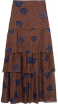 See by Chloe Printed Silk Maxi Skirt - Brown