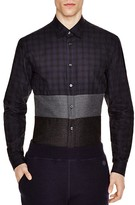 Z Zegna Black Watch Color Block Slim Fit Button Down Shirt
