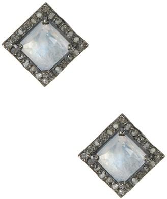 ADORNIA Millicent Moonstone & Champagne Diamond Earrings - 0.30 ctw