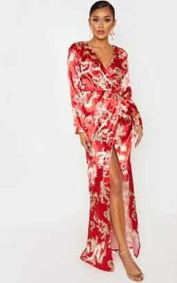 PrettyLittleThing Red Dragon Print Satin Long Sleeve Wrap Maxi Dress
