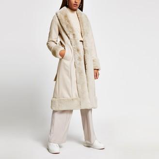 River Island Womens Cream long line faux fur hem robe coat