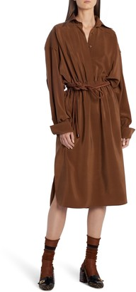 Fendi Long Sleeve Silk Crepe de Chine Shirtdress