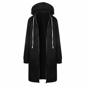 Mllkcao Winter Women's Wool Blends Jacket Coat Jacket Outerwear Ladies Gift for Women Warm Zipper Open Hoodies Sweatshirt Long Coat Jacket Tops Outwear Black