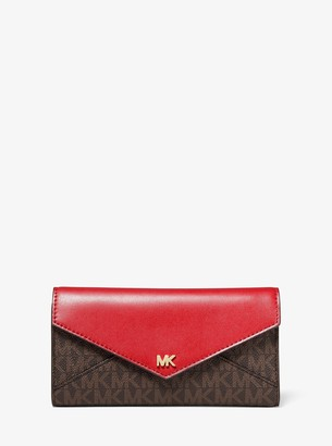 MICHAEL Michael Kors Large Logo and Leather Envelope Wallet