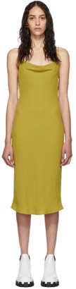 Eckhaus Latta Yellow Beaded Cowl Neck Dress