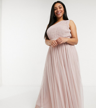 Anaya Plus Anaya With Love Plus Bridesmaid tulle one shoulder maxi dress in pink