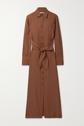 Reformation Net Sustain Robin Tie-front Georgette Maxi Shirt Dress - Light brown