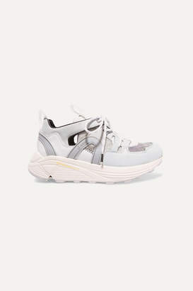 Ganni Suede, Leather, Rubber And Mesh Sneakers - White