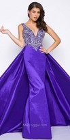 Mac Duggal Plunging V-Shape Jewel Encrusted Dress with Overskirt